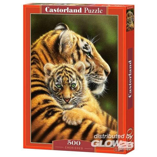 Baby tijger met haar moeder Puzzel 500 Stuks