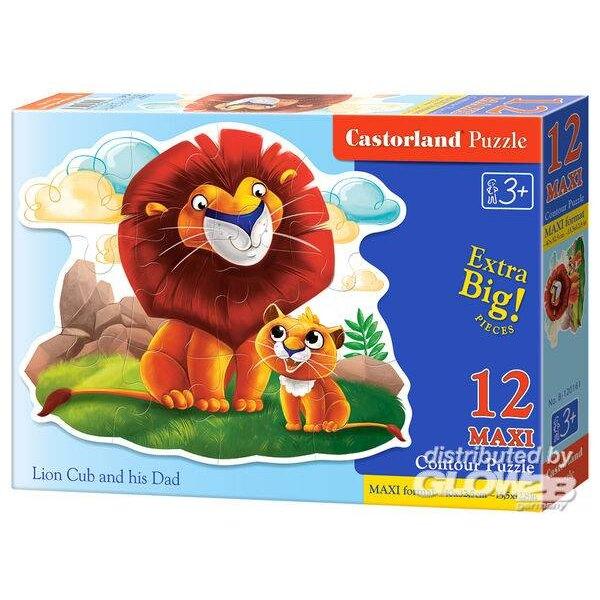 De kleine leeuw met zijn papa Puzzel 12 Stuks