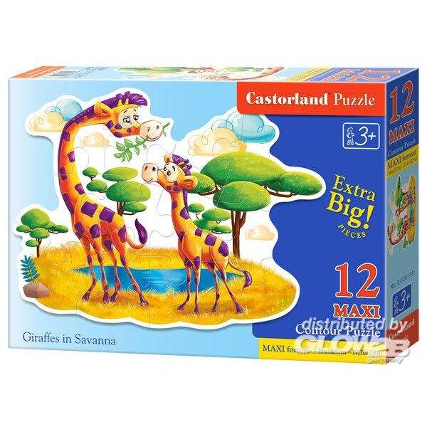Giraffen in de savanne Puzzel 12 Stuks