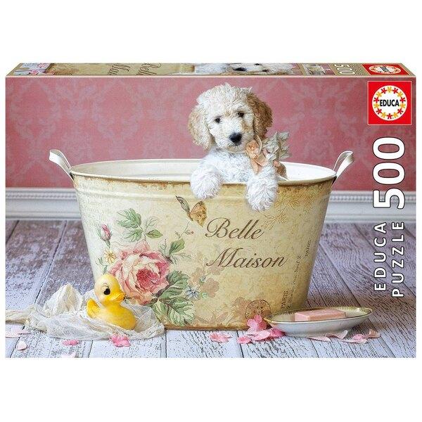 Witte puppy, Lisa Jane Puzzel 500 Stuks