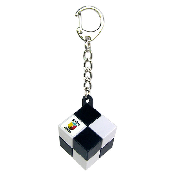 Simpele kubus sleutelhanger - karabinerclip - zwart en wit