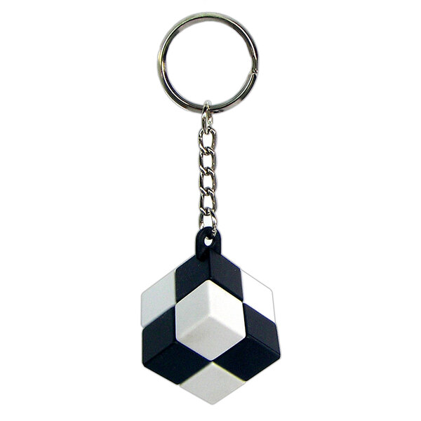 Simple cube keychain - simple fastener - zwart en wit